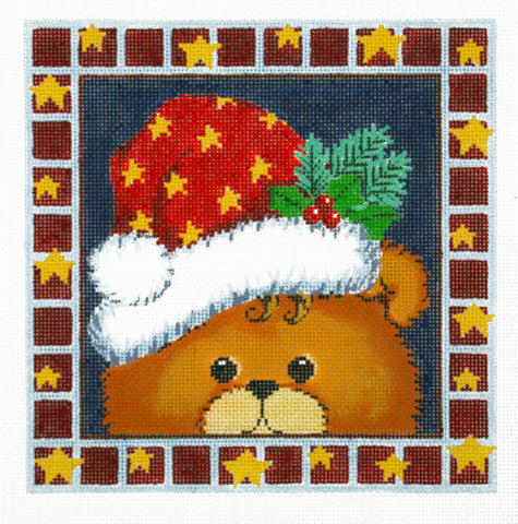 Canvas~LEE Holiday Teddy Bear handpainted Needlepoint Canvas on 16 Mesh