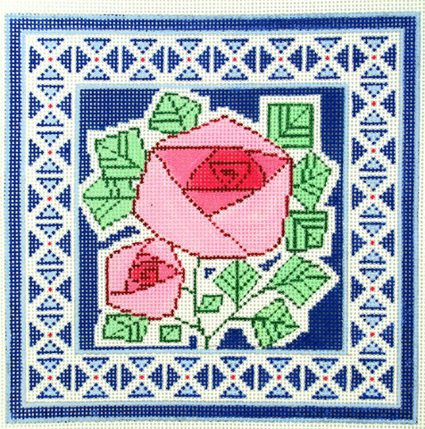 Canvas Floral~LEE elegant 2 Pink Roses on Blue Design handpainted HP Needlepoint Canvas 13m