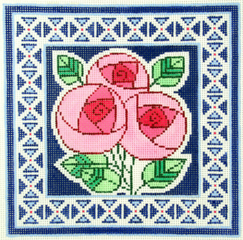 Canvas Floral~LEE elegant 3 Pink Peony Flowers on Blue Design handpaint Needlepoint Canvas 13m