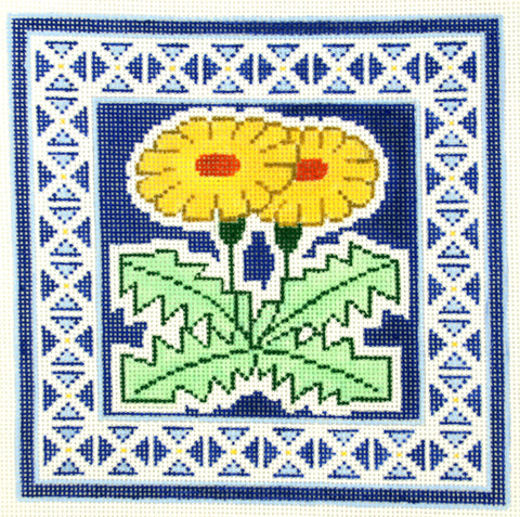 Canvas Floral~Daisies on Blue handpainted Needlepoint Canvas
