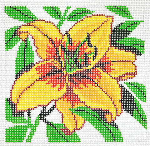 Canvas Floral~LEE Yellow Daylily Flower Series handpainted Needlepoint Canvas on 12 Mesh