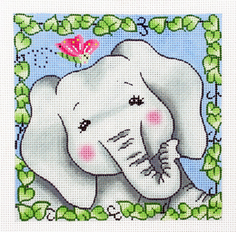 BaZooples~ Elsie the Elephant handpainted Needlepoint Canvas by LEE