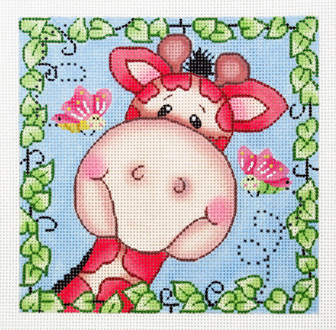 BaZooples~ Gertrude the Giraffe handpainted Needlepoint Canvas by LEE