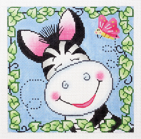 BaZooples~ Zach the Zebra handpainted Needlepoint Canvas by LEE
