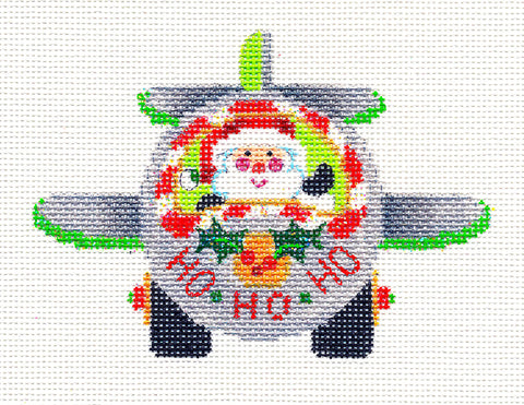 "Christmas Canvas ~ ""Ho, Ho, Ho"" Pilot Santa Flying His Airplane handpainted Needlepoint Canvas by Strictly Christmas"