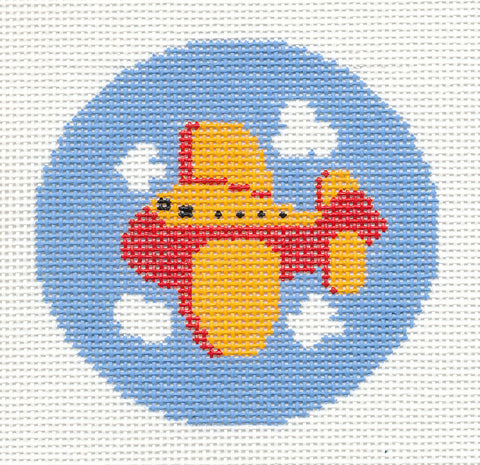 "Round~LEE adorable Flying Airplane Childs handpainted Needlepoint Canvas 3"" Rd."