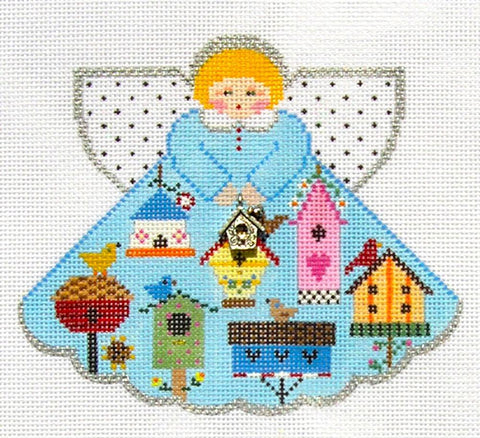 Angel~ Bird House Angel w/ Charm hand painted HP Needlepoint Canvas~by Painted Pony **MAY NEED TO BE SPECIAL ORDERED**