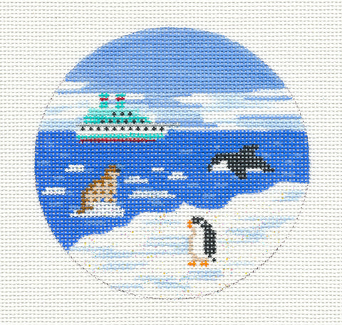 "Round~4"" Antarctica ~ Destination Needlepoint Canvas by Painted Pony"