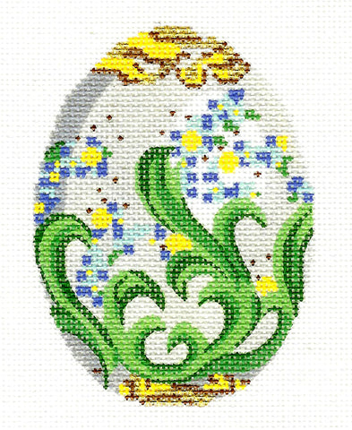 Faberge Egg~APRIL Diamond Birthstone EGG OF THE MONTH Needlepoint Canvas Ornament by L