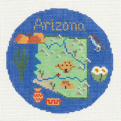 "Round~4.25"" Arizona handpainted Needlepoint Canvas~by Silver Needle"