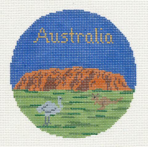 "Round~4.25"" Australia handpainted Needlepoint Canvas~by Silver Needle"