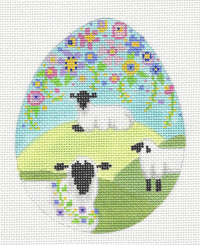 Egg~ Three Sheep in a Meadow Egg Ornament 18 Mesh handpainted Needlepoint Canvas~by Brenda Stofft