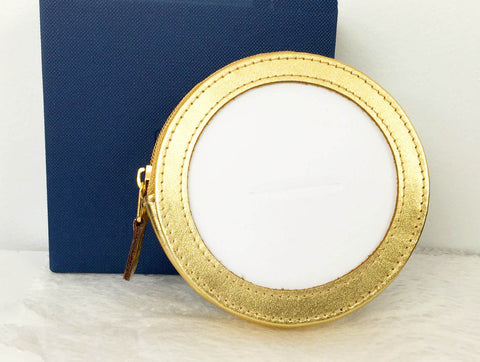 "Accessory~LEE Metallic Gold Leather Zippered COIN PURSE CASE for a 3"" Rd Needlepoint Canvas"