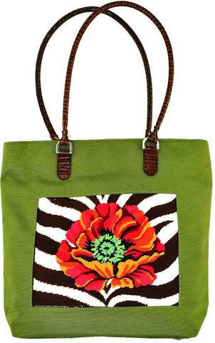 Accessory~Khaki Nylon Shopper Bag for Handpainted Needlepoint Canvases by Lee