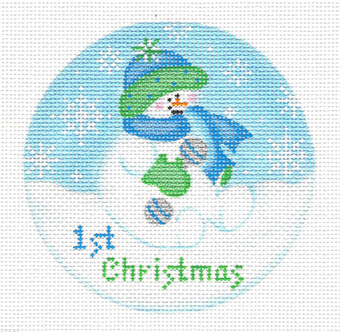 Baby Round ~ Baby Snowboy's 1st Christmas-18 Mesh handpainted Needlepoint Canvas~by Pepperberry