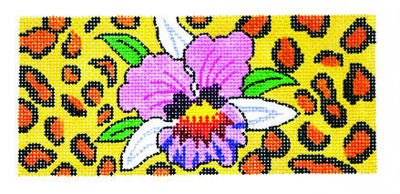 Canvas Insert~Orchid on Leopard handpainted Needlepoint Canvas