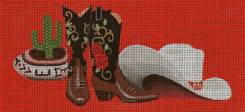 Canvas Insert ~  Cowboy Boots & Hat by Leigh Design handpainted Needlepoint Canvas BR Insert for LEE