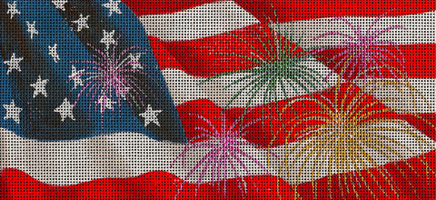 Canvas Insert~LEE Patriotic Flag by Leigh Design handpainted Needlepoint Canvas LG. BR Insert
