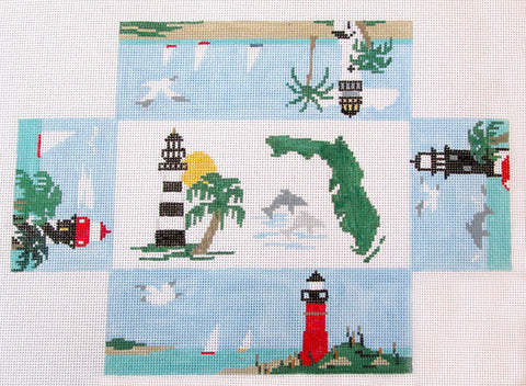 Brick Cover~Florida handpainted Needlepoint Canvas~by Kathy Schenkel