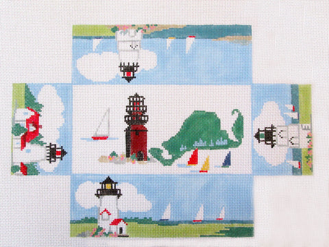 Brick Cover~Martha's Vineyard handpainted Needlepoint Canvas~by Kathy Schenkel