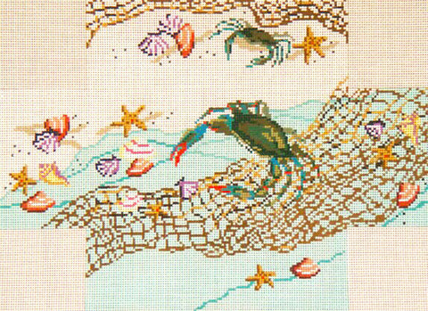 Brick Cover~Crab Net and Shells handpainted Needlepoint Canvas~by Needle Crossings