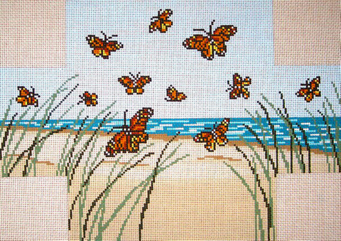 Brick Cover~Monarch Butterfly handpainted Needlepoint Canvas~by Needle Crossings