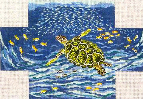 Brick Cover~Green Sea Turtle handpainted Needlepoint Canvas~by Needle Crossings