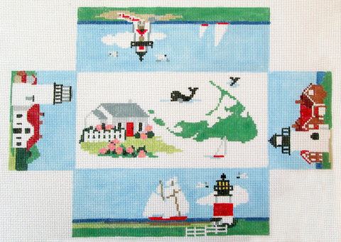Brick Cover~Nantucket Island MA handpainted Needlepoint Canvas~by Kathy Schenkel** SP.ORDER**