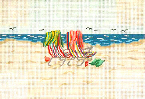 Brick Cover~Beach Chairs handpainted Needlepoint Canvas~by Needle Crossings