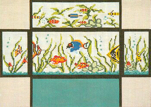 Brick Cover~Fish Tank Aquarium handpainted Needlepoint Canvas~by Needle Crossings