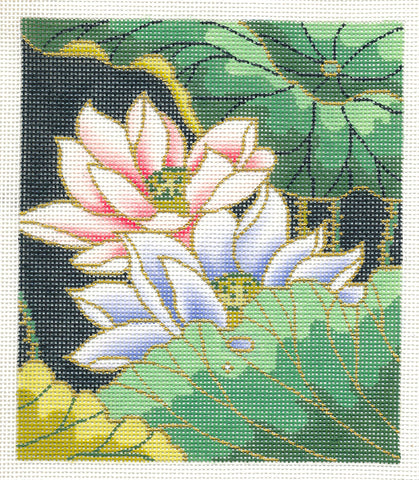 "Canvas Floral~ Japanese Lotus Blossom Garden handpainted ""BG"" Needlepoint Canvas by LEE"