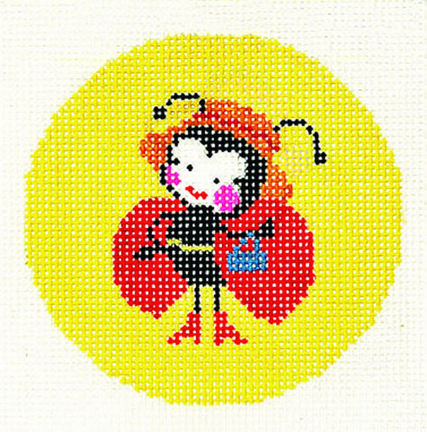"Round~LEE Lady Bug handpainted Needlepoint Canvas 3"" RD. Insert"