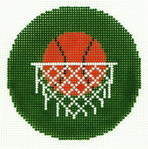 "Round~Basketball & Hoop Design handpainted Needlepoint Canvas 3"" Rd. Ornament by LEE"
