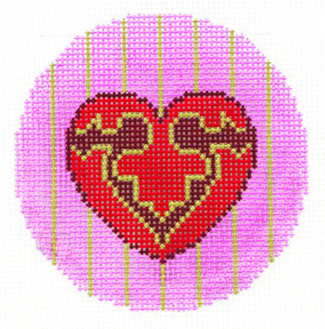 "Round~LEE Ornate Heart handpainted Needlepoint Canvas 3"" Rd. Insert"