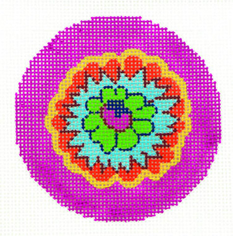 "Round~LEE Fiesta Flower handpainted Needlepoint Canvas 3"" Rd. Ornament"