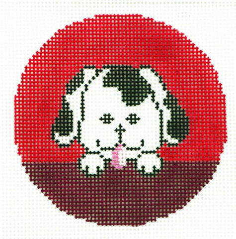 "Round~LEE Adorable Puppy Dog Design handpainted Needlepoint Canvas 3"" Rd. Ornament"