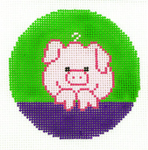 "Round~LEE Piglet handpainted Needlepoint Canvas 3"" Rd. Insert"