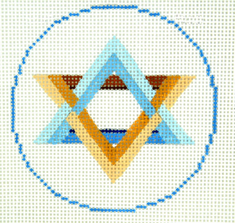 "Round~ LEE Star of David Judaic Design handpainted Needlepoint Canvas 3"" Rd. Ornament"