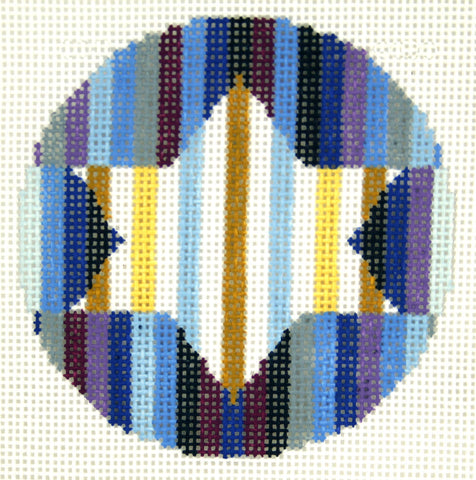 "Round~ LEE Judaic Design Star of David handpainted Needlepoint Canvas 3"" Rd. Ornament"