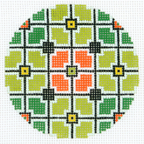 "Round~LEE Geometric Squares handpainted Needlepoint Canvas 3"" Rd. Ornament"