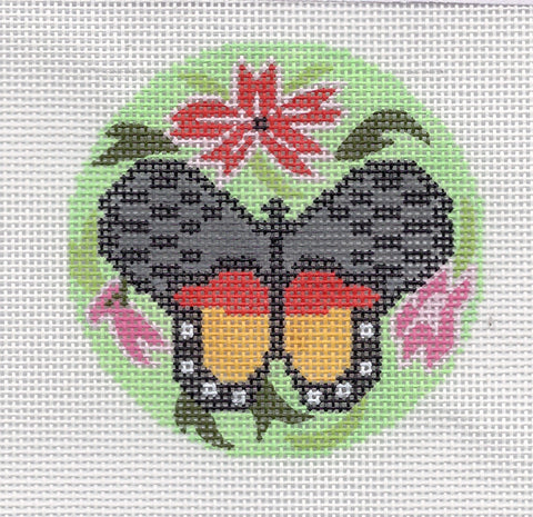 "Round~LEE Elegant Green Multi-color Butterfly handpainted Needlepoint Canvas 3"" Rd."