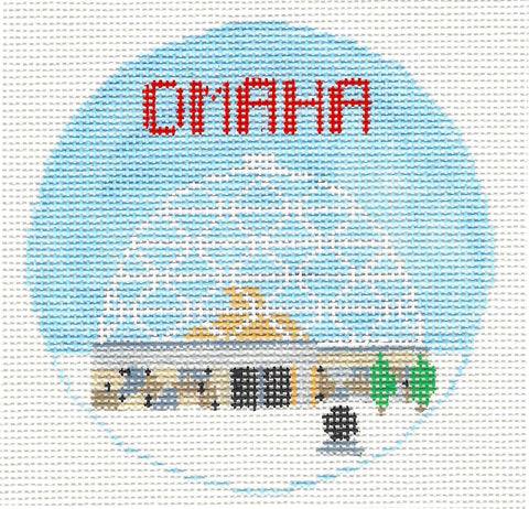 Travel Round~Omaha Nebraska handpainted Needlepoint Canvas~by Kathy Schenkel**MAY NEED TO BE SPECIAL ORDERED**