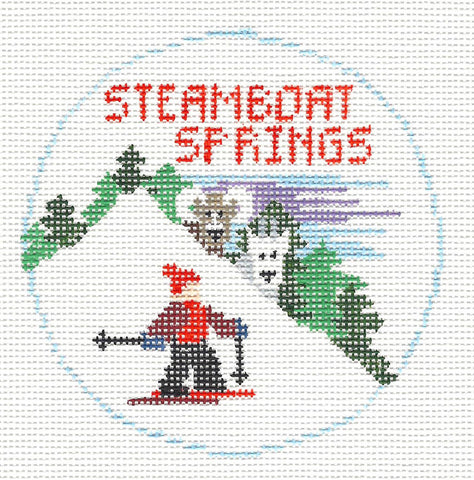 Travel Round~Colorado, Steamboat Springs handpainted Needlepoint Canvas~by Kathy Schenkel**MAY NEED TO BE SPECIAL ORDERED**