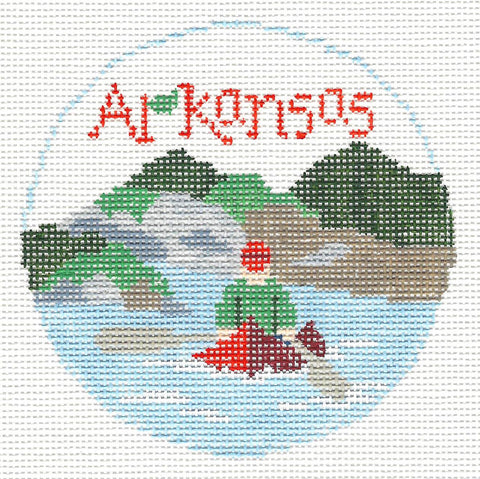 Travel Round~Arkansas handpainted Needlepoint Canvas~by Kathy Schenkel**MAY NEED TO BE SPECIAL ORDERED**