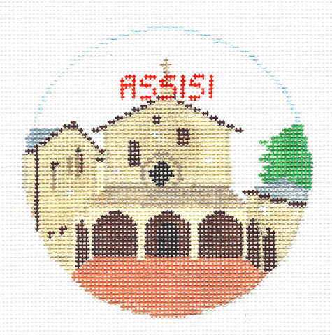 Travel Round~Assisi Italy handpainted Needlepoint Canvas~by Kathy Schenkel**MAY NEED TO BE SPECIAL ORDERED**
