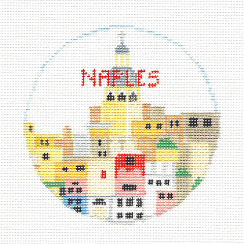 Travel Round~Naples Italy handpainted Needlepoint Canvas~by Kathy Schenkel**MAY NEED TO BE SPECIAL ORDERED**
