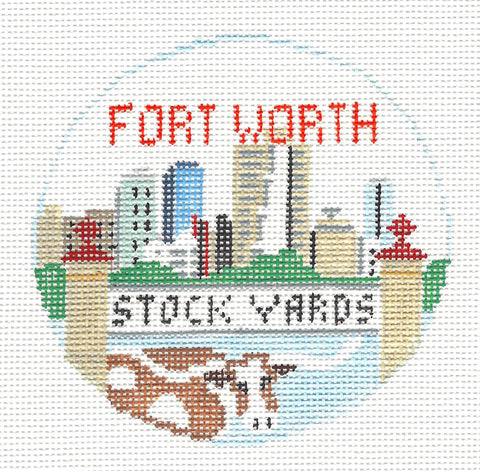 Travel Round~Fort Worth Stockyards Texas handpainted Needlepoint Canvas~by Kathy Schenkel**MAY NEED TO BE SPECIAL ORDERED**