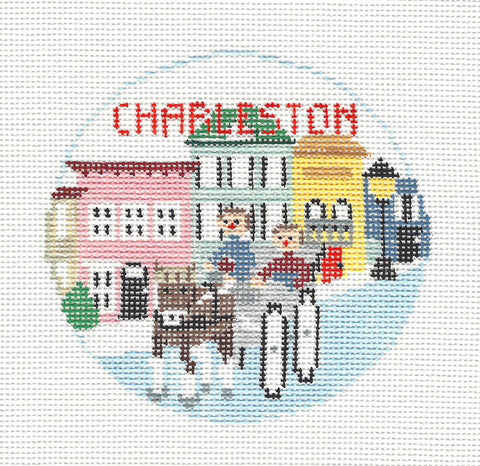 Travel Round~Charleston South Carolina handpainted Needlepoint Canvas~by Kathy Schenkel**MAY NEED TO BE SPECIAL ORDERED**