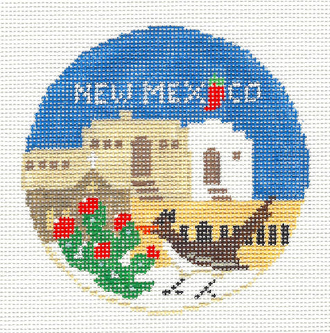 Travel Round~New Mexico handpainted Needlepoint Canvas~by Kathy Schenkel**MAY NEED TO BE SPECIAL ORDERED**