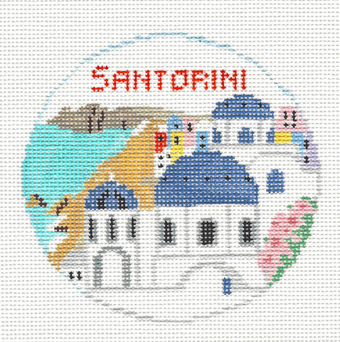 Travel Round~Santorini, Italy handpainted Needlepoint Canvas~by Kathy Schenkel**MAY NEED TO BE SPECIAL ORDERED**